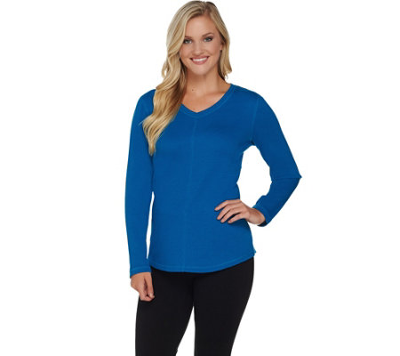 Denim & Co. Active Waffle Knit V-Neck Top with Front Seam Detail
