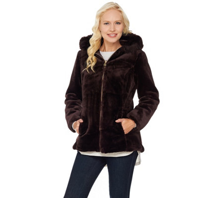 Susan Graver Faux Fur Zip Front Jacket with Trimmed Hood