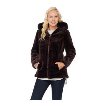 Susan Graver Faux Fur Zip Front Jacket with Trimmed Hood