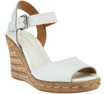 """As Is"" Marc Fisher Leather Peep-toe Espadrille Wedges -Maiseey"