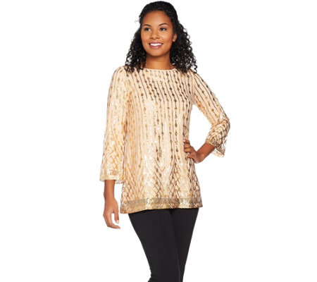 Bob Mackie's 3/4 Sleeve Sequin Pull-Over Top