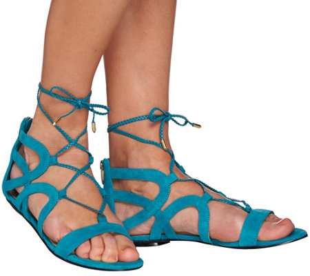 """As Is"" Marc Fisher Suede Lace-up Sandals - Kapre"