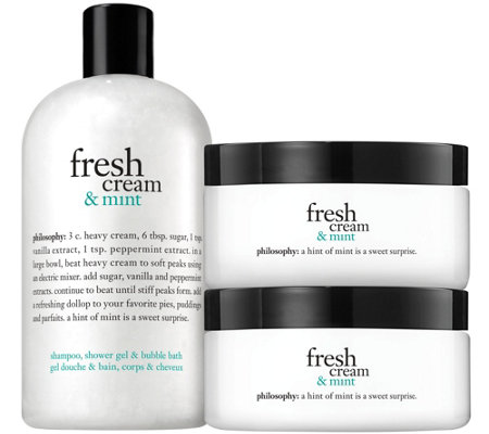 philosophy fresh cream & mint shower gel and souffle duo