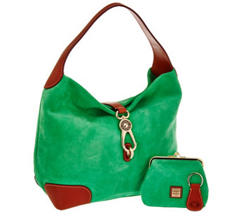 """As Is"" Dooney & Bourke Suede Hobo with Logo Lock and Accessories - A287950"