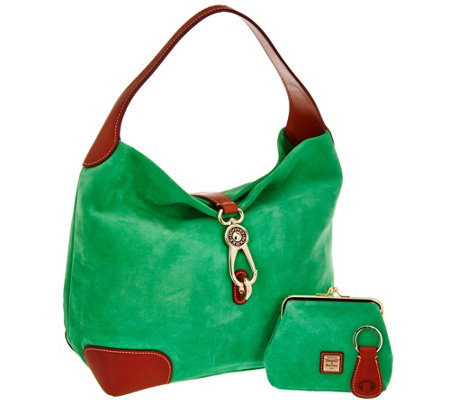 """As Is"" Dooney & Bourke Suede Hobo with Logo Lock and Accessories"