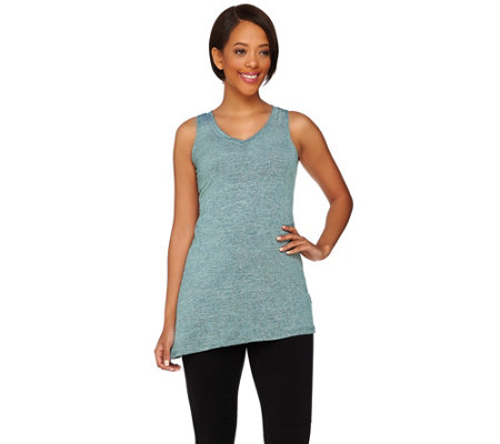 """As Is"" LOGO Lotus by Lori Goldstein V-neck Spacedye Knit Tank"