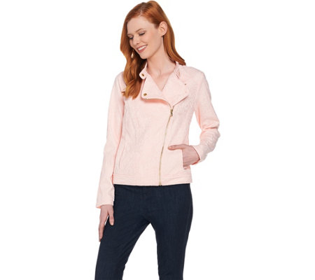 Isaac Mizrahi Live! Stretch Lace Motorcycle Jacket