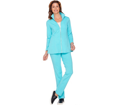 Belle by Kim Gravel Amped Up Active Peplum Jacket and Pant Set