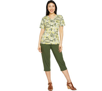 Denim & Co. Active Printed Knit Top and Capri Pants Set - A291650