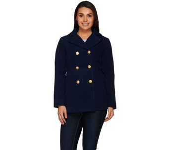 """As Is"" Joan Rivers Classic Double Breasted Peacoat - A292050"