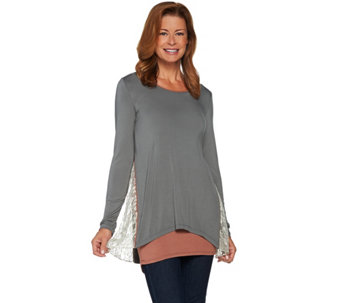 """As Is"" LOGO by Lori Goldstein Knit Top with Lace Godets and Tank Twin Set - A292850"