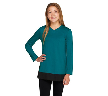 """As Is"" LOGO Littles by Lori Goldstein Knit Top w/ Panels & Side Godets"