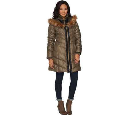 G.I.L.I. Faux Fur Trimmed Down Puffer Coat