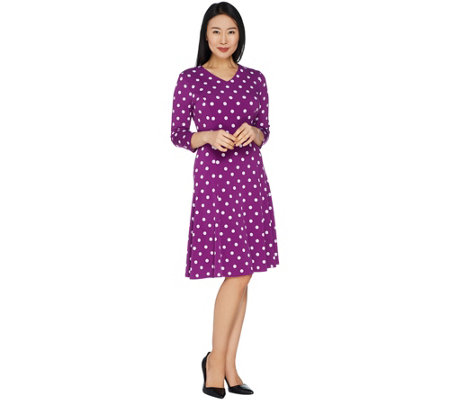Susan Graver Printed Liquid Knit V-Neck 3/4 Sleeve Dress