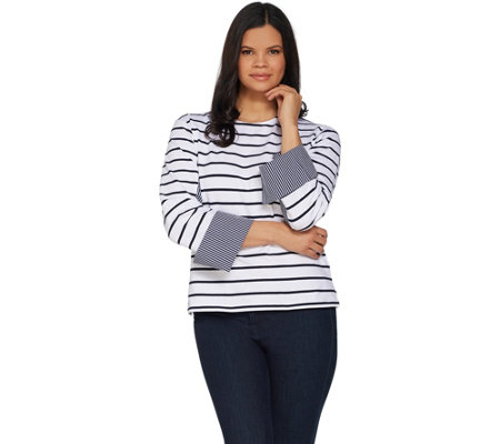 Attitudes by Renee Striped Knit Top w/ Woven Cuff Detail