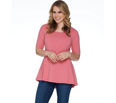 Isaac Mizrahi Live! Scoop Neck Elbow Sleeve Peplum Knit Top - A301450