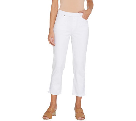 Susan Graver Regular Stretch Denim Pull-On Crop Pants - White