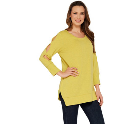 H by Halston Scoop Neck French Terry Tunic w/ Sleeve Detail