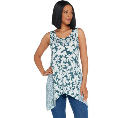 LOGO Layers by Lori Goldstein Knit Tank w/ Printed Side Godet Details