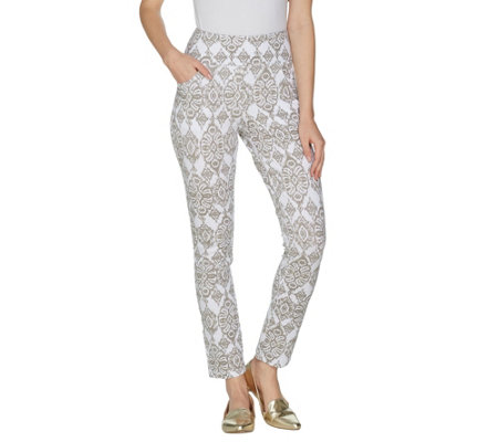 Denim & Co. Active Printed Pull-On Ankle Pants