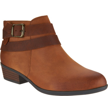 """As Is"" Clarks Leather Side Zip Ankle Boots - Addiy Cora"