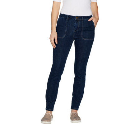 """As Is"" LOGO by Lori Goldstein Petite Skinny Leg Ankle Jeans with Pockets"