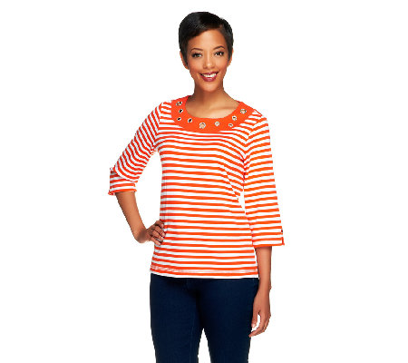 Quacker Factory Striped Rhinestone Grommet T-shirt