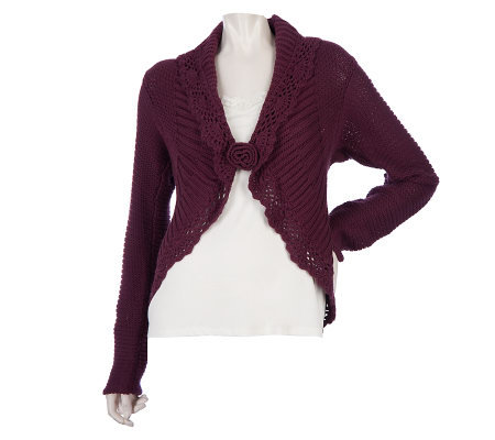 Motto Fly Away Front Cardigan with Crochet Trim