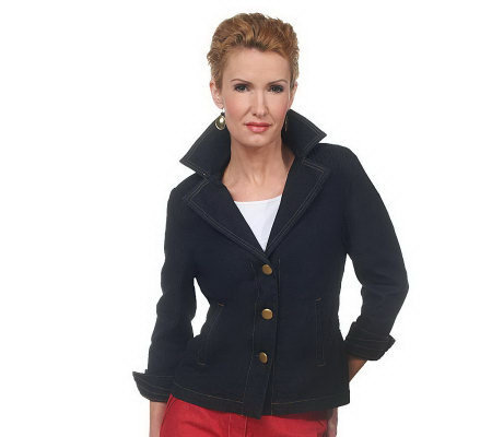 Joan Rivers Denim Signature Jacket with Ruching Detail