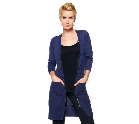 Jennifer Hudson Collection V-Neck Cardigan w/Pockets and Rib Trim Detail