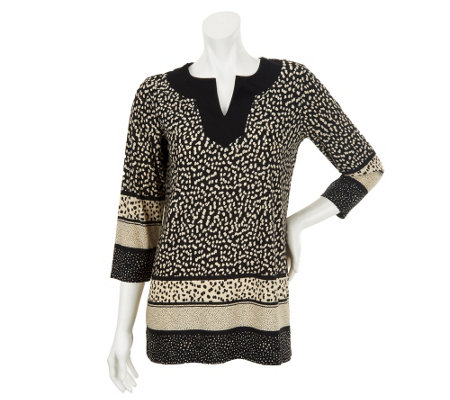 Susan Graver Border Print Liquid Knit Tunic with 3/4 Sleeves