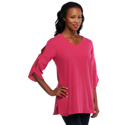 Susan Graver Cotton Gauze Tunic with Cutout Sleeve Detail