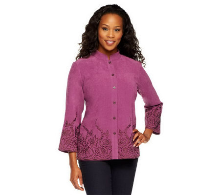 Bob Mackie's Button Front Embroidered Edge Shirt