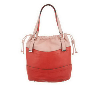 """As Is"" B. Makowsky Pebble Leather Drawstring Shopper - A237351"