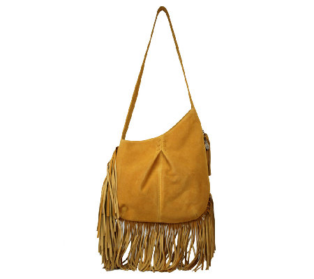 Muxo by Camila Alves Leather & Suede Asymmetrical Hobo Bag