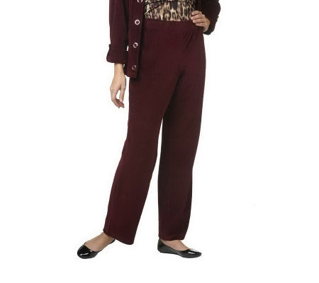 """As Is"" Susan Graver Velour Full Leg Pull-on Regular Pants"