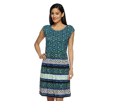Isaac Mizrahi Live! Mixed Print Cap Sleeve Knit Dress