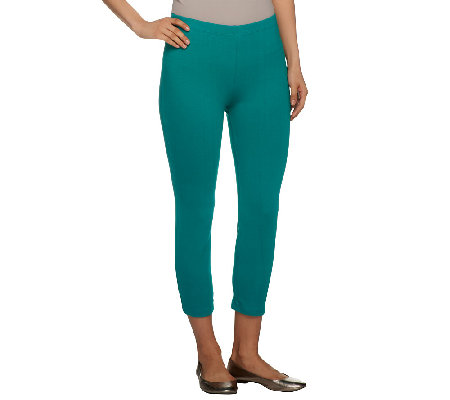 Susan Graver Weekend Stretch Cotton Leggings with Snap Detail