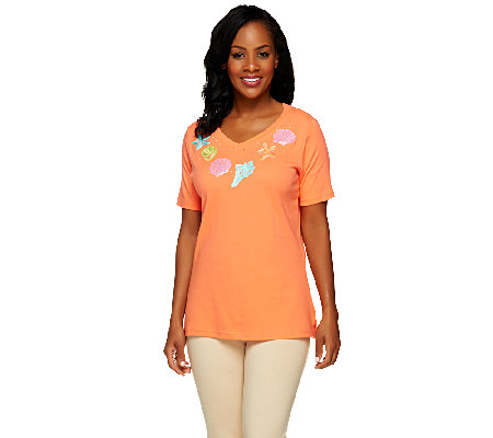 Quacker Factory V-neck Short Sleeve Seashell T-shirt