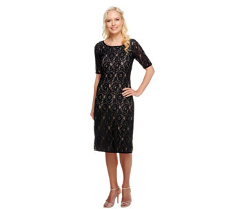 Edge by Jen Rade Short Sleeve Lace Dress with Exposed Zipper - A254551