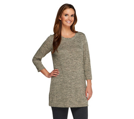 Susan Graver Lightweight Sweater Knit Tunic w/Pleated Scoop Neck