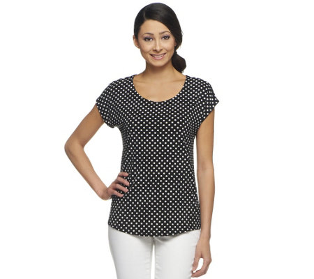 """As Is"" Susan Graver Liquid Knit Black & White Printed Top"