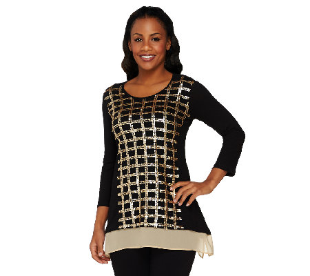 LOGO by Lori Goldstein Knit Top with Chiffon Trim and Sequins