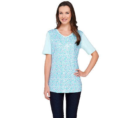 Quacker Factory Sequin Swirl Short Sleeve T-shirt