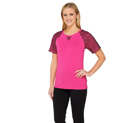 Denim & Co. Active Jersey Short Mesh Sleeve Top