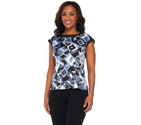 Bob Mackie's Abstract Print Boatneck Top with Cap Sleeves