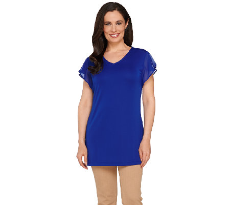 Susan Graver Premier Knit Tunic with Sheer Chiffon Sleeve Detail