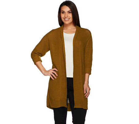Joan Rivers Open Front Ribbed Knit Cardigan