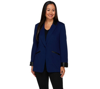 Susan Graver Ponte Jacket with Faux Leather Trim - A268351