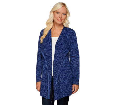 Denim & Co. Marled Drape Front Cardigan with Cable Detail